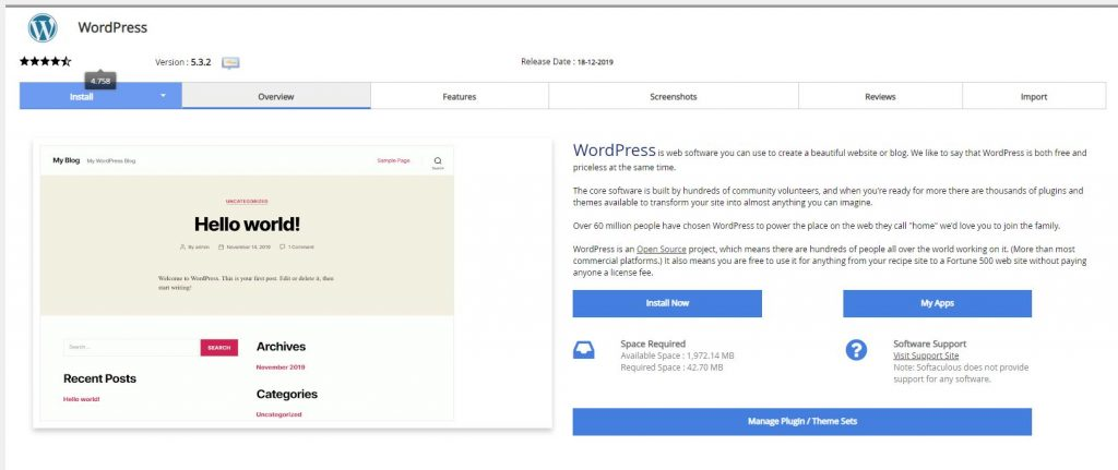 installing the wordpress software from softalicious